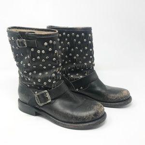 Frye Jenna Black Leather Studded Boots